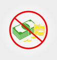 do not pay cash sign vector image