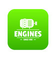 engine icon green vector image vector image