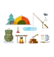 Fishing Hunting Items Flat Design vector image