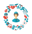 Flat Icon of Nurse and Medical Equipment and vector image vector image