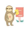 funny cute sloth sending postcard design for vector image vector image