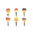 funny school boys cartoon characters with various vector image vector image