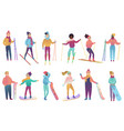 group of cute cartoon skiers and snowboarders in vector image vector image
