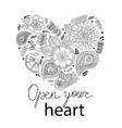 heart flowers in style doodle vector image