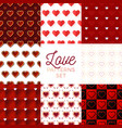heat pattern set heart seamless pattern with vector image vector image