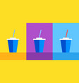 icon blue plastic cup with coke or ice tea on vector image