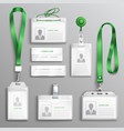 id cards badges realistic set vector image vector image