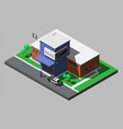 isometric building of police department vector image vector image