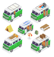 Isometric Camper Set with Different Vans vector image