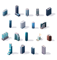 isometric city center buildings set vector image