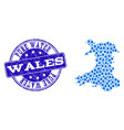 mosaic map of wales with water drops and grunge vector image