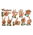 multiple male color hand gesture set vector image