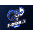 prometheus and a sports ball sports emblem vector image vector image