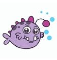 Purple fish T-shirt design vector image vector image