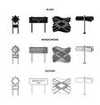 road signs and other web icon in blackmonochrome vector image
