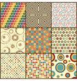 set nine retro geometric seamless patterns vector image