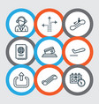set of 9 airport icons includes operator credit vector image vector image