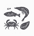 set of seafood silhouettes with lettering sign vector image
