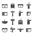 sink with taps icon set for kitchen and bathroom vector image vector image
