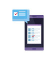 smartphone for vote online with speech bubble vector image vector image