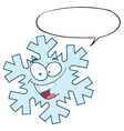 Snowflake Character With Speech Bubble vector image