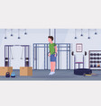 sporty man doing ring dips exercises with vector image vector image