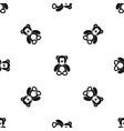 teddy bear pattern seamless black vector image vector image