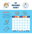 teeth brushing incentive chart teeth cleaning vector image vector image