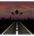 The plane is taking off at sunset and night city vector image vector image