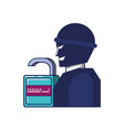 thief man and padlock with password vector image vector image