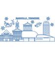 usa tennessee nashville winter city skyline vector image vector image