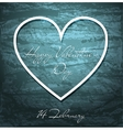 Valentines Day grunge background with white heart vector image vector image
