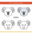 Koala bear Set isolated face heads bear in color vector image