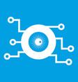 cyber eye symbol icon white vector image