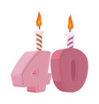 40 years birthday figures with festive candle for vector image vector image