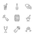 9 wine icons vector image vector image