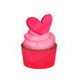 appetizing cupcake with pink cream decorated with vector image vector image