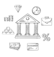 Banking infographic elements in sketch style vector image vector image