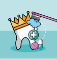 brushing tooth crown medicine pills and capsule vector image