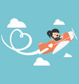 business woman on airplane draw heart image vector image