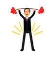 businessman character lifting barbell up over head vector image