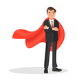 businessman in a red cloak superhero of business vector image vector image