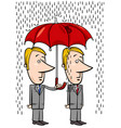 businessmen under umbrella cartoon vector image vector image