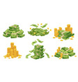 Cartoon money and coins green dollar banknotes