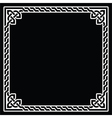 Celtic frame border white pattern on black vector image vector image