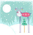 Christmas card with goat in winter landscape vector image