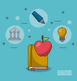 colorful poster of education with book and apple vector image vector image