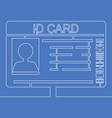 continuous one line blank id cards icon concept vector image
