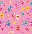 cute kittens seamless pattern vector image vector image