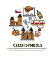 czech symbols food and architecture or culture vector image